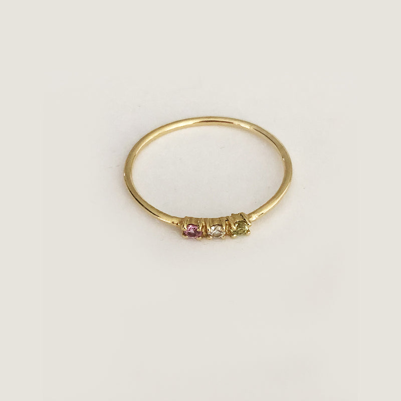 Three Step Sapphire Ring In Solid Gold