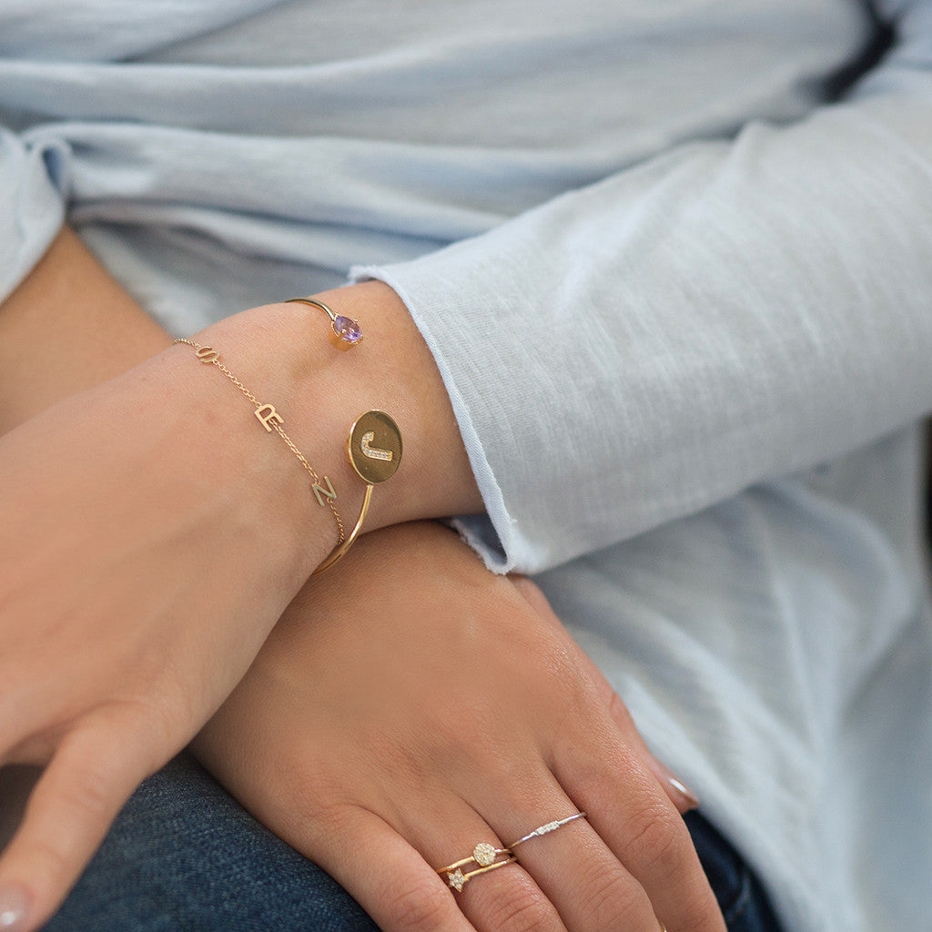 SHOP THE LOOK - MINI INITIAL BRACELET IN SOLD GOLD