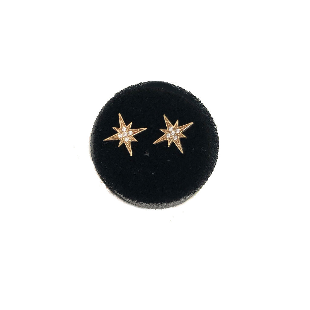 SOLID GOLD STARBURST STUDS WITH CZ- AVAILABLE IN YELLOW OR WHITE GOLD