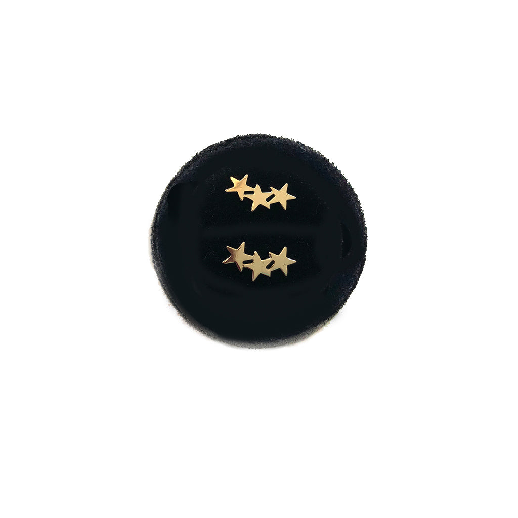 Three star cluster studs in solId gold - cuz good things come in 3