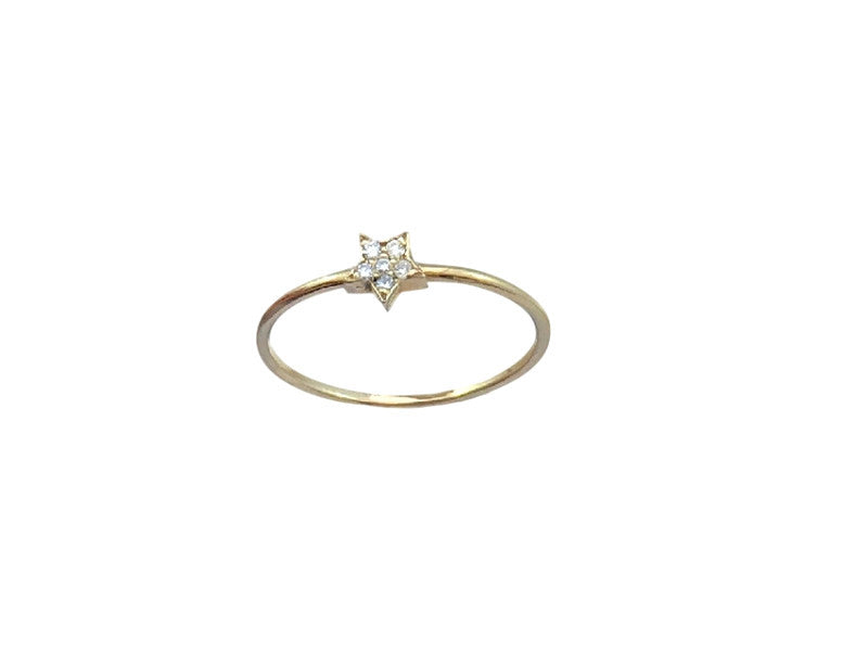 Diamond Star Stackable - Solid Yellow Gold