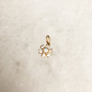 Opal Flower Charm In Solid Gold