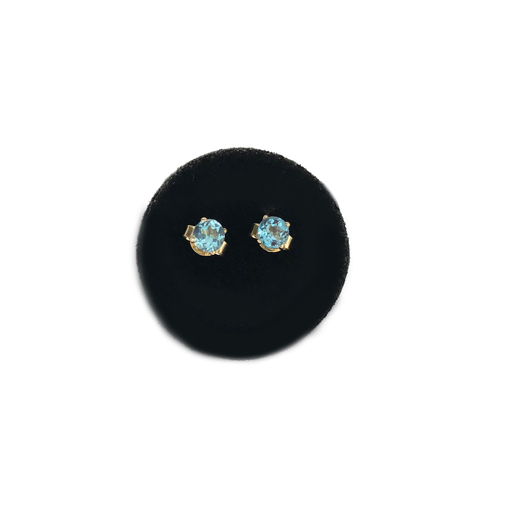Mini Gemstone Studs-Baby Blue Topaz- sold as a pair