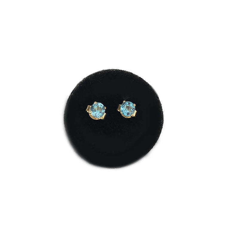 Baby Blue Topaz Mini Gemstone Studs- Available In Solid Yellow Or White Gold- Comes In A Pair
