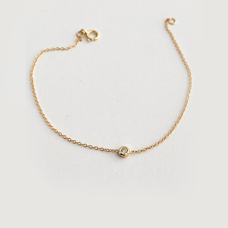 Baby Delicate Diamond Bezel Bracelet In Solid Gold