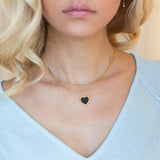 SHOP THE LOOK!  Stunning black enamel heart necklace, layered with our elegant curved bar choker. Each sold seperately
