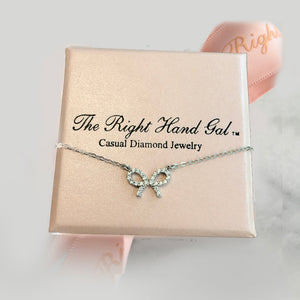 "Baby Bow In British Sterling & CZ Necklace- Proceeds go to the ""We Love You Connie Foundation"""