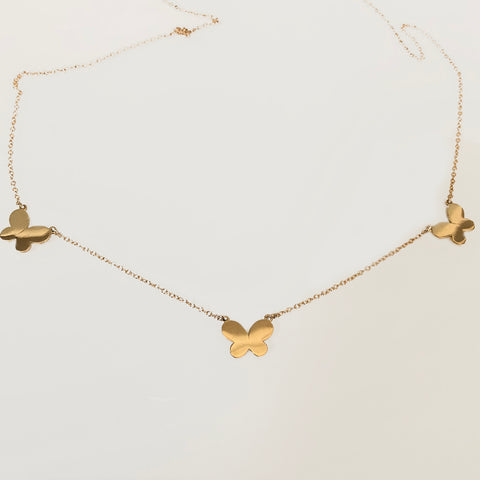 solid gold three butterfly necklace