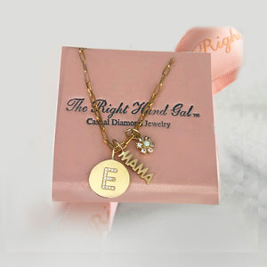 Shop The Look- Fun Charn Necklace- SOlid Gold Charms & 18k Yelllow Gold vermeil Open Link Chain
