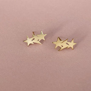 Star & Lightning Bolt Clusters - Solid Gold- Sold as a Pair
