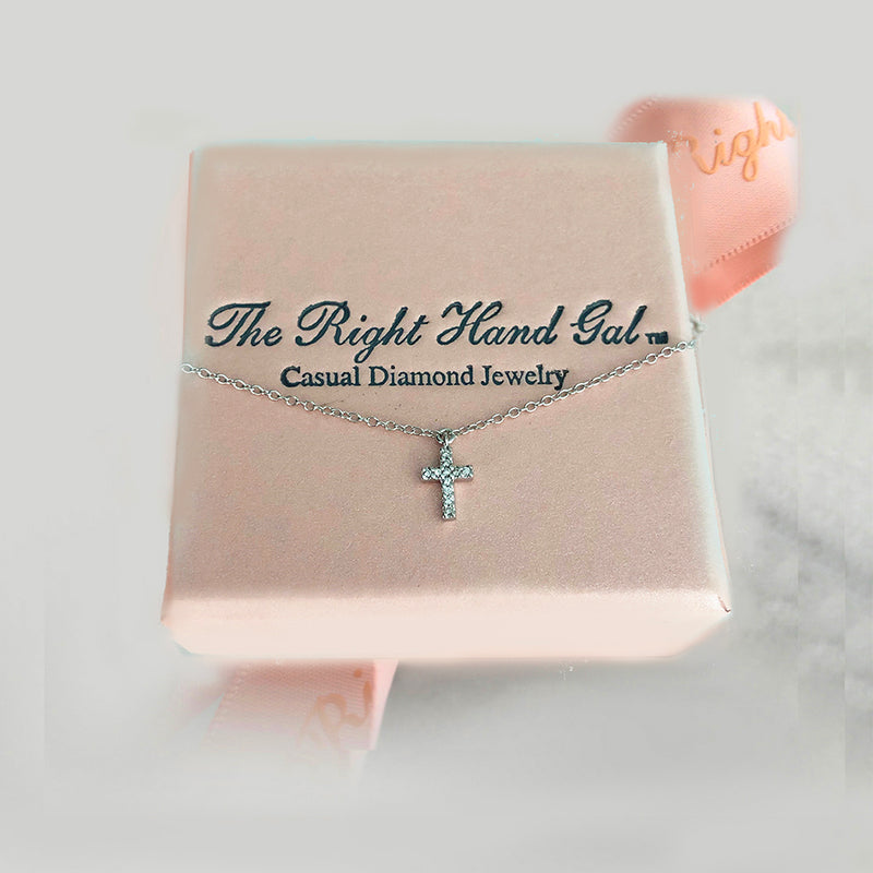 Mini Diamond Cross- Solid White Gold