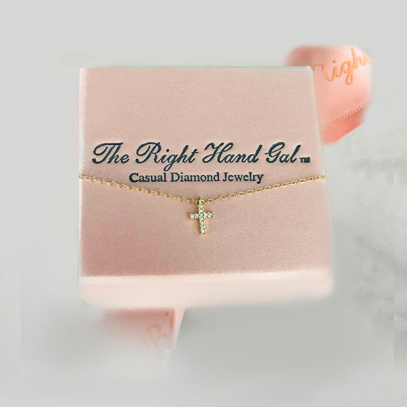 Mini Diamond Cross- Solid Yellow Gold
