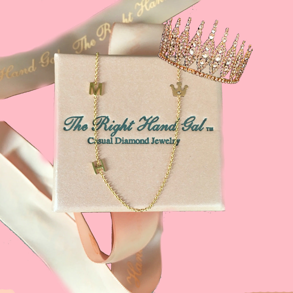 First we created the famous M & H necklace which announced to the world that Meghan & Prince Harry were official...now introducing the Crown Jewel necklace in honor of the new Duchess! Please email us to let us know which initials you desire