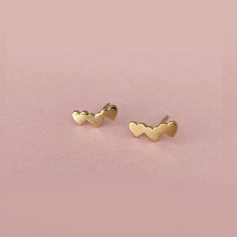 Curved Heart Cluster Studs - Solid Gold