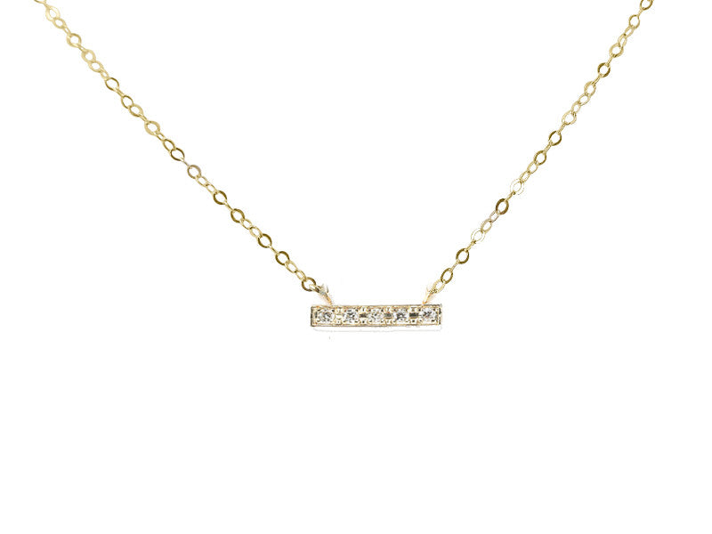 Medium Size Diamond Pave Bar Necklace- solid gold