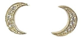SOLID GOLD MOON STUDS- MEDIUM SIZE WITH CZ OR DIAMONDS - available in  YELLOW OR WHITE GOLD
