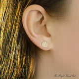 Mini diamond disc initial studs - solid yellow gold