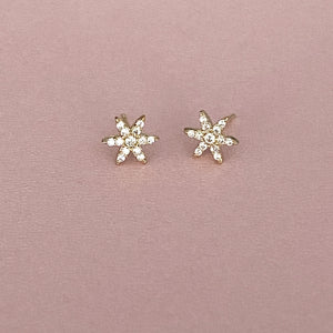 flower studs with pavee topaz set in solid yellow or white gold