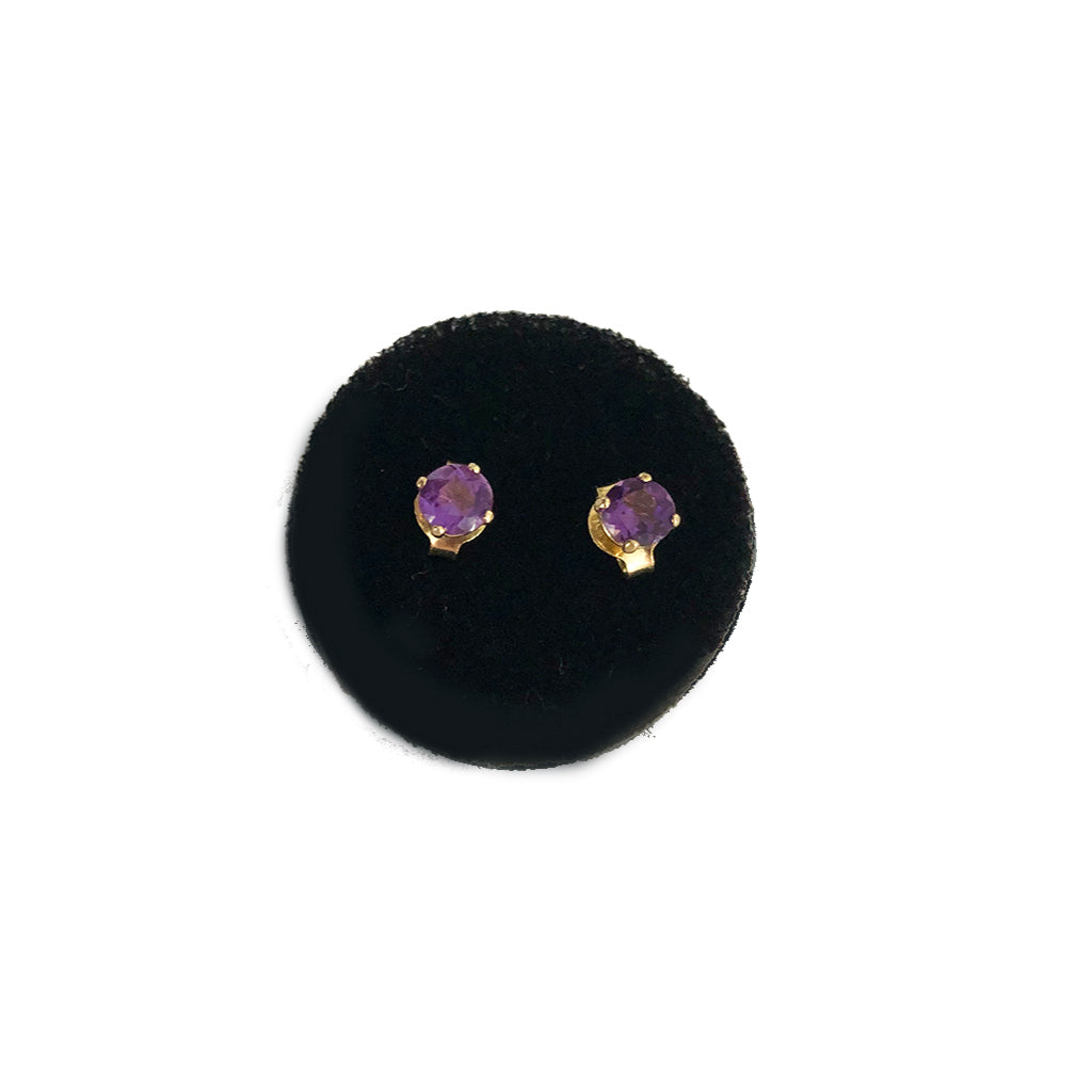 Grape Amethyst Mini Gemstone Studs- Available In Solid Yellow Or White Gold-  Comes In A Pair