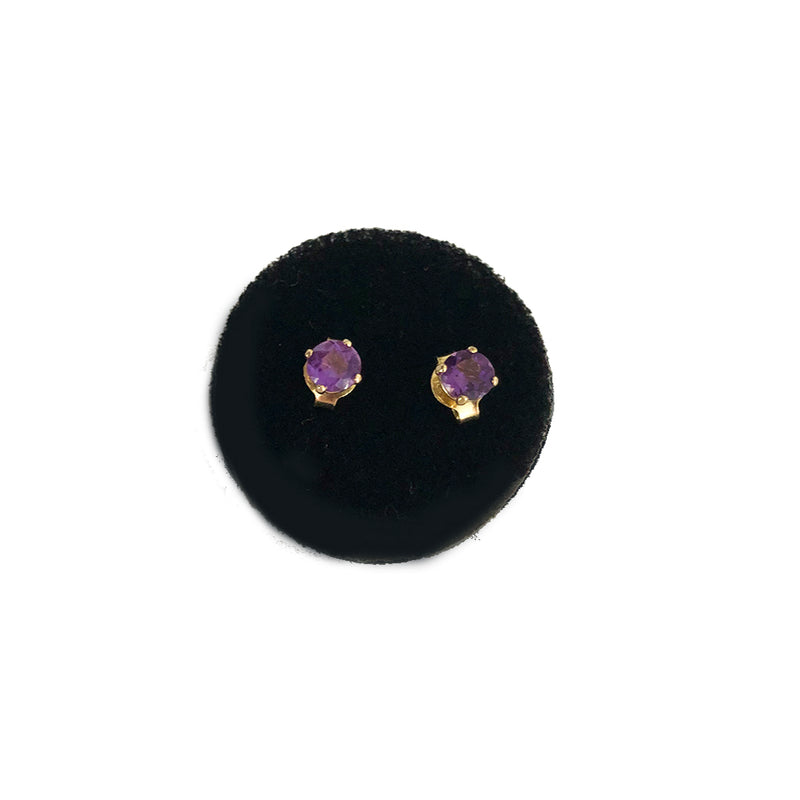 Grape Amethyst Mini Gemstone Studs - Solid Gold - Comes In A Pair