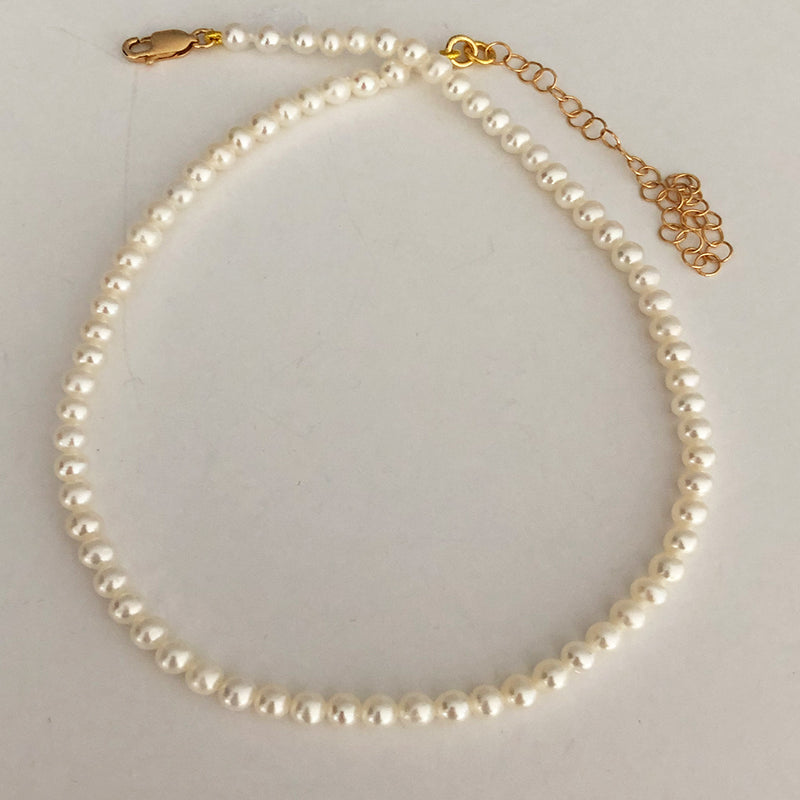 Pearl Adjustable Choker - 18k Yellow Gold Vermeil