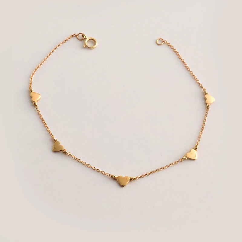 Lucky Hearts Bracelet - Solid Gold