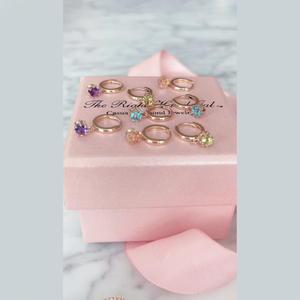 Huggies With Gemstone Dangles- Solid Gold & Sold as a Pair