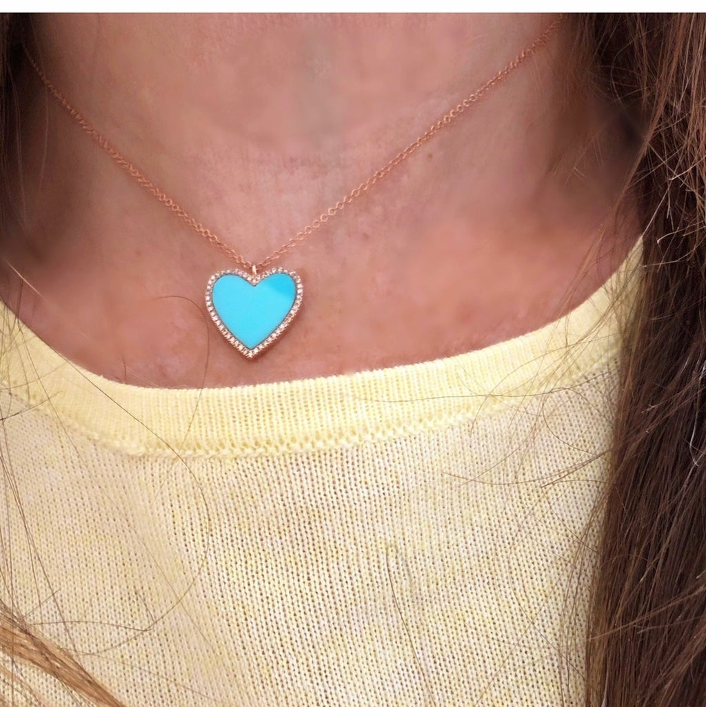 Turquoise & Diamond Necklace - Pink Gold