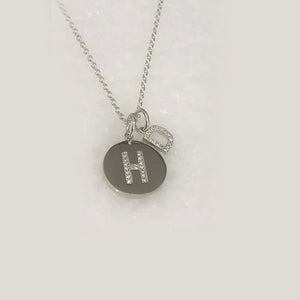 Diamond Initial Double Charm Necklace - with your Choice of Initials - Solid Gold. Exclusive Website Necklace