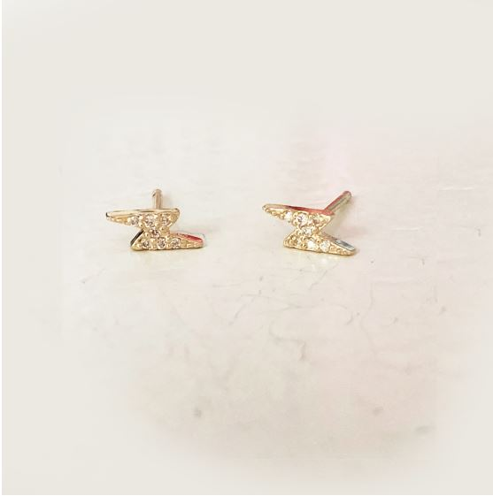 CZ Lightning Bolt Studs- Available In Solid Yellow Or White Gold