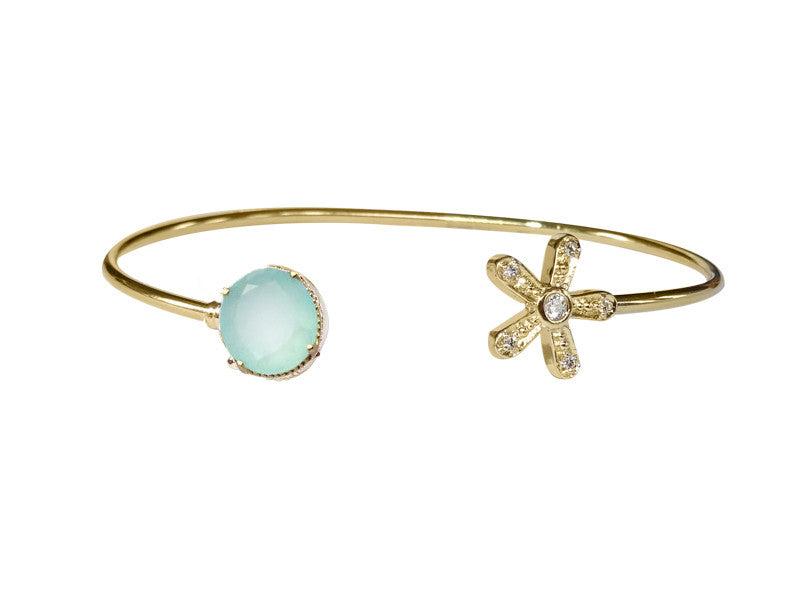 Magic Daisy Cuff - Aqua Topaz Gemstone