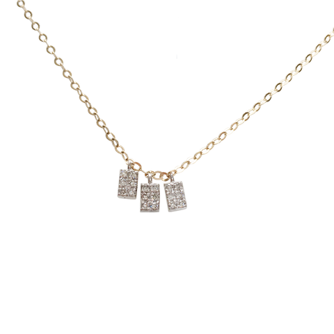 Me, Myself and I diamond dangle necklace in solid gold