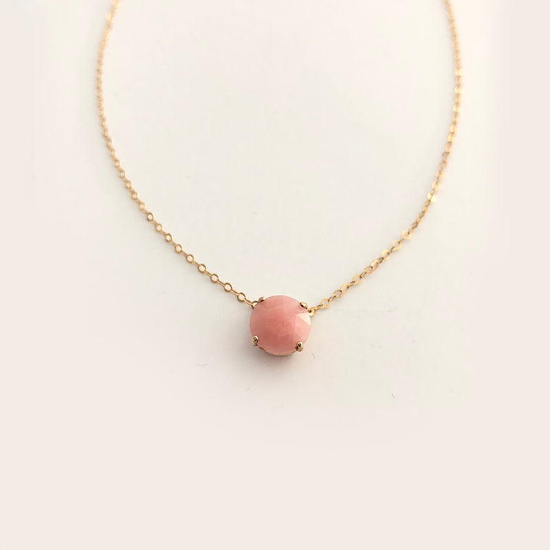 Mini Pink Opal Lollipop Necklace in Solid Gold