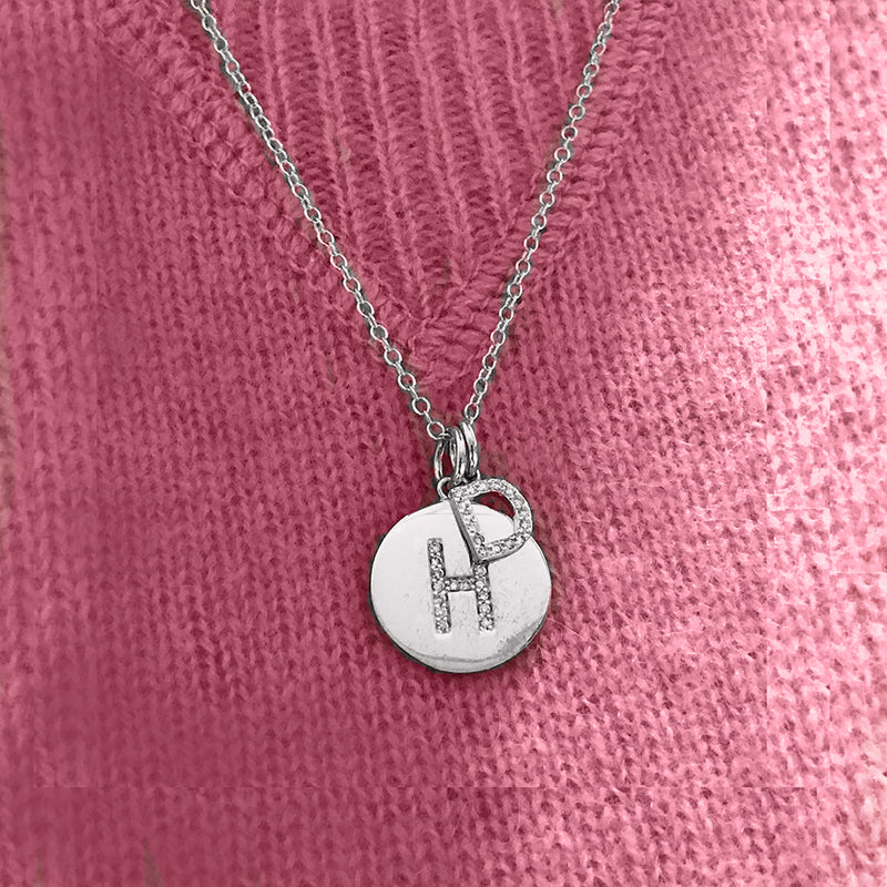 Initial charm necklace in white gold- both charms are set with pavee diamonds -  select your initials for each charm upon check out or please let us know by email