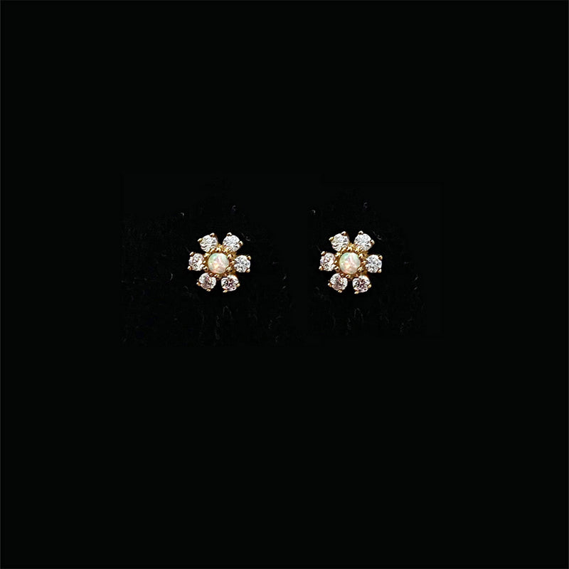 Flower Studs with Opal & Topaz - Solid Gold