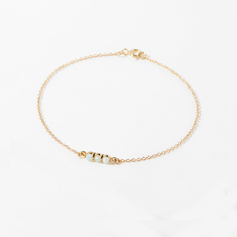 Opal Bar Bracelet - Solid Gold