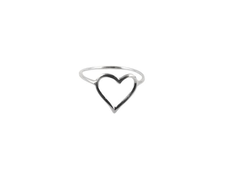 """A Heart Of Gold"" Stackable Ring - White Gold"
