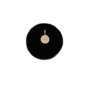 SOLID GOLD PAVEE DISC CHARM