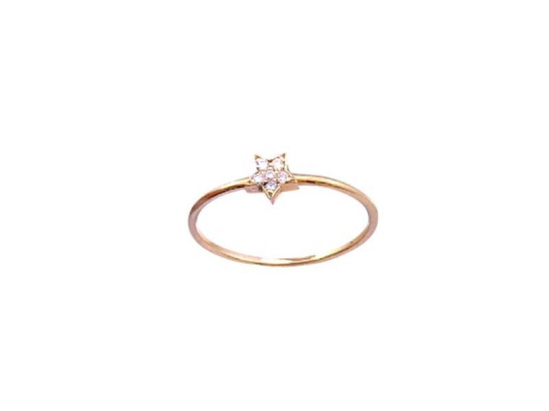 Diamond Star Stackable - Solid Pink Gold