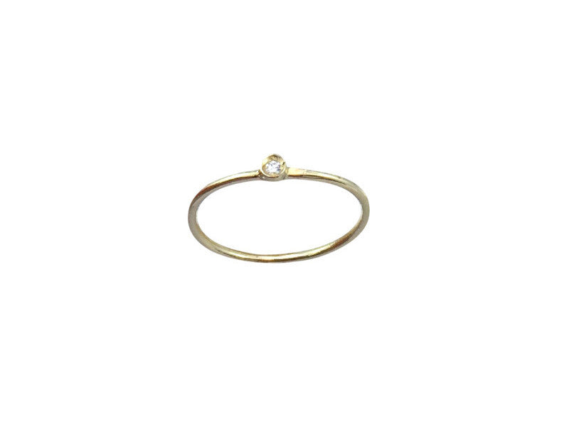 Plain Circle with Diamond - Yellow Gold