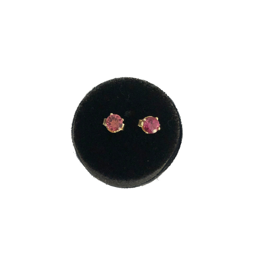 Raspberry Dream Mini Gemstones- Available In Solid Yellow Or White Gold - Comes In A Pair