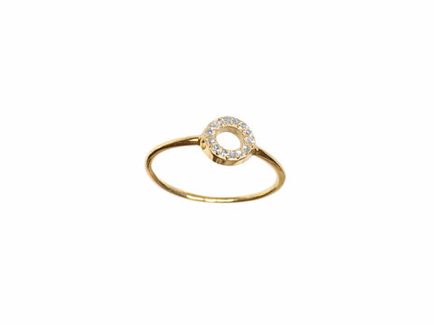 Mini circle of life ring solid gold & diamonds