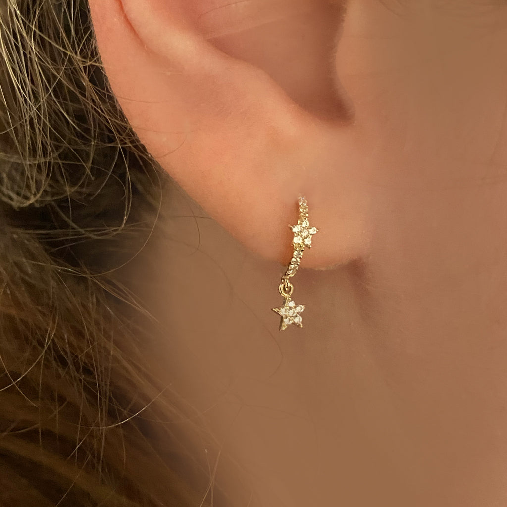 Star Dangle Huggies - Solid Gold - Topaz Sparkle-Sold as a Pair