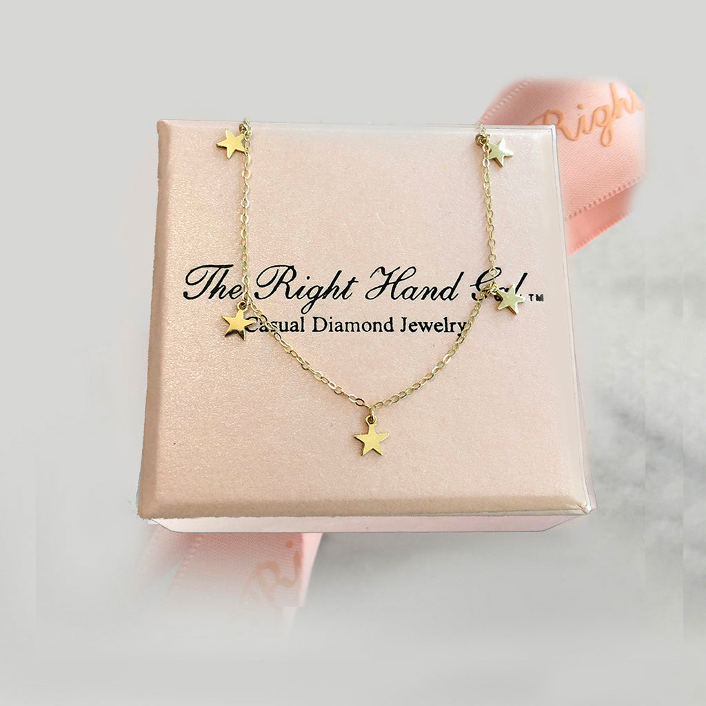Dangling Stars Necklace - Solid Gold