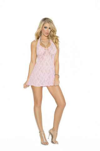 Melanie Lace Halter Mini Dress , Chemise - Elegant Moments, Hush Hush Intimates  - 1
