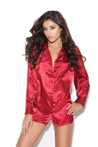 Serena Satin Sleep Shirt , Sleepwear - Elegant Moments, Hush Hush Intimates  - 1