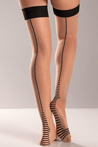 Nude Cuban Heel Thigh High , Hosiery - BeWicked, Hush Hush Intimates