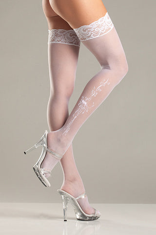 Sheer Lace-top Stockings with Woven Bows and Floral Pattern , Hosiery - BeWicked, Hush Hush Intimates