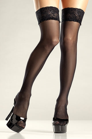 Sheer Lace Stay Up Thigh Highs , Hosiery - BeWicked, Hush Hush Intimates