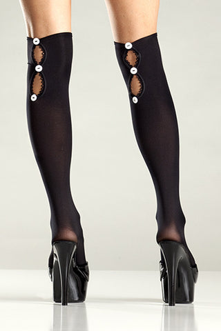 Button-Up Knee Highs , Hosiery - BeWicked, Hush Hush Intimates  - 1
